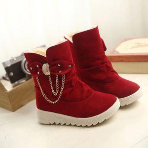 Frankmall®Loisirs Soft Flat cheville Martin bottes en daim cuir dentelle-up bottes populaire Rouge NYZ70901551RD PbHZRz