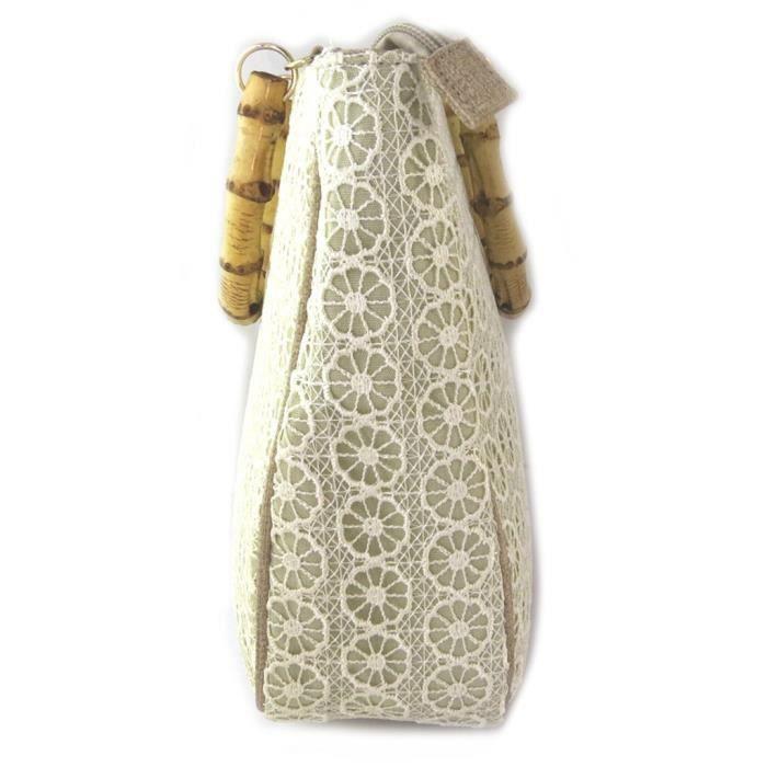 Sac créateur Lollipops beige dentelle - 34x24x9 cm... [P1018]