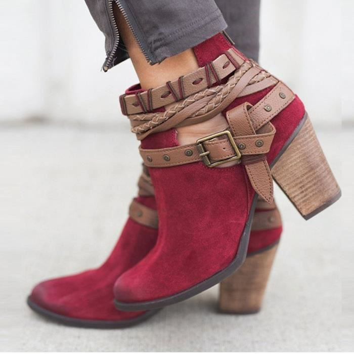 Buckle Shoes Autumn Fashion Ankle Party Sexy Boots uji 43 Rivet Wedding Boot Heel Femmes Rouge BwSS0