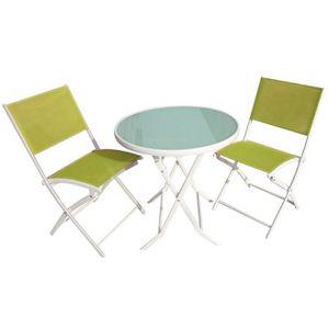 Ensemble table + chaises couleur vert anis - Achat / Vente salon de ...