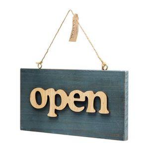 PLAQUE DE PORTE GZ* Rétro Bois ''Open-Closed-Welcome'' Porte Plaqu