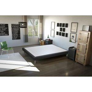 SOMMIER Sommier Baobab 160x200 cm - gris anthracite