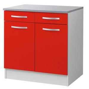 elements bas meuble bas de cuisine 80 cm coloris rouge l 80 x