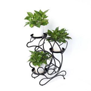 JARDINIÈRE - POT FLEUR  Vodool Escalier à fleurs noir Support de fleurs Co