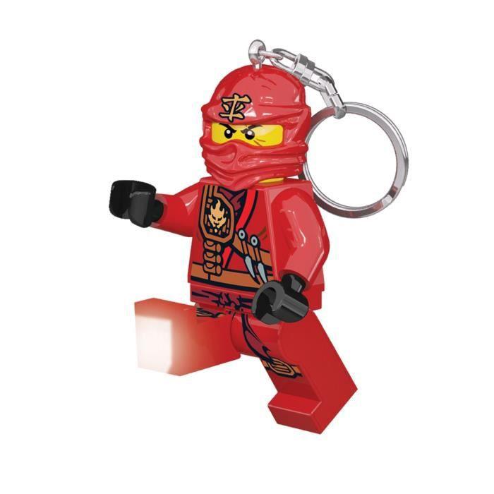 LEGO Ninjago Porte-clés LED Kai - Pieds lumineux et articulés - Eclairage dans 2 directions - 4,5 X 2,5 X 8,2 cm