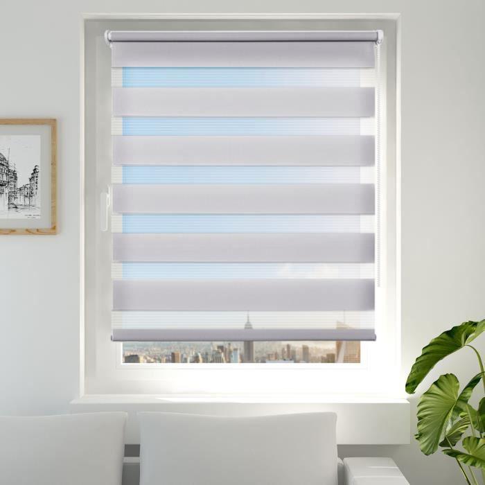double store enrouleur jour nuit gris 80 x 150 cm montage facile sans per age pour fen tre. Black Bedroom Furniture Sets. Home Design Ideas
