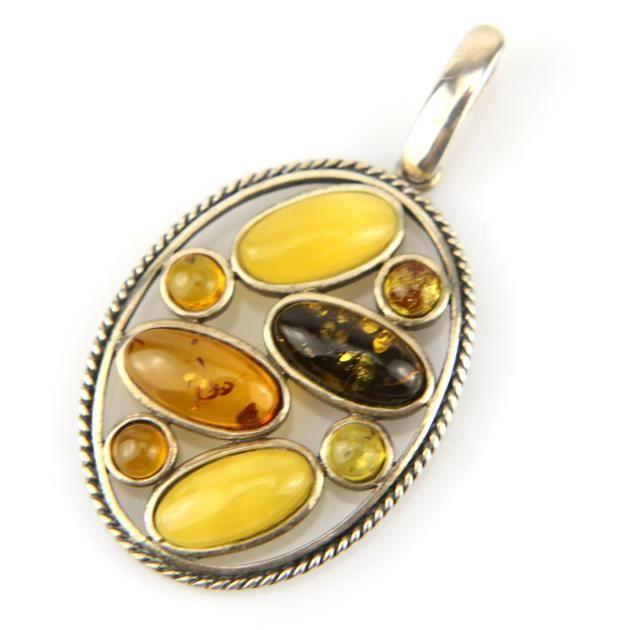 Pendentif ovale argent ambre véritable PAM46