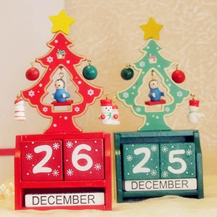 Décoration de Noël Mini calendrier en bois Rouge