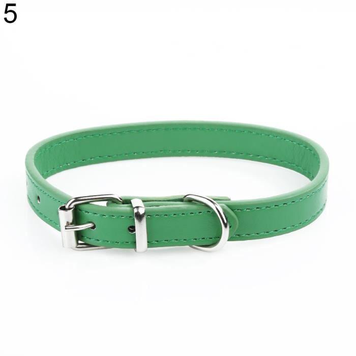 Mode Réglable En Simili Cuir Couleur Unie Chien Chat Sangle Collier Animal De Compagnie Vert M