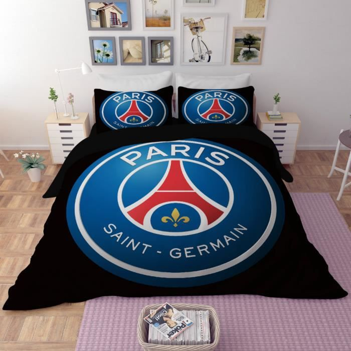 Parure de lit football paris saint germain psg 160 210cm 3 - Couette psg 1 personne ...