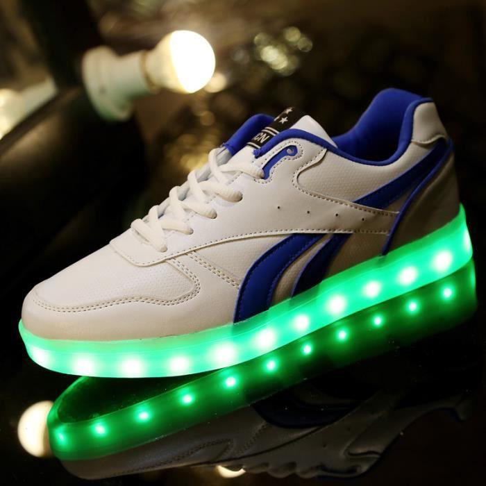 7 Couleur Homme USB Charge LED Lumière Lumineux Clignotants Chaussures de Sports Baskets Blanc Blanc Blanc - Achat / Vente basket  - Soldes* dès le 27 juin ! Cdiscount