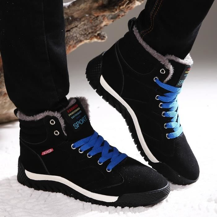 Botte Homme New Fashion Lace Up plat Skid résistance Skater hommes noir taille44 ot1c9VA