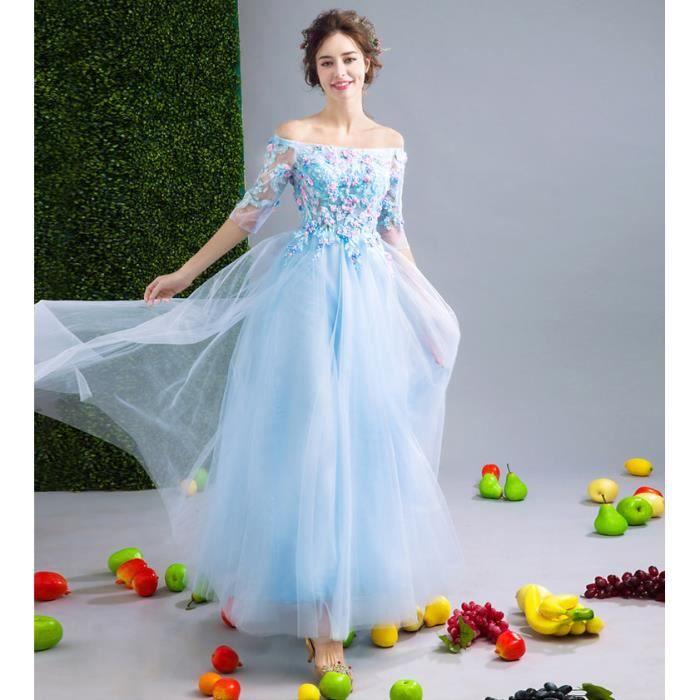 1a355c7ee30 Robe longue épaule plate dentelle femmes Pour Cérémonie Mariage Cocktail  Soirée Bleu clair WK538