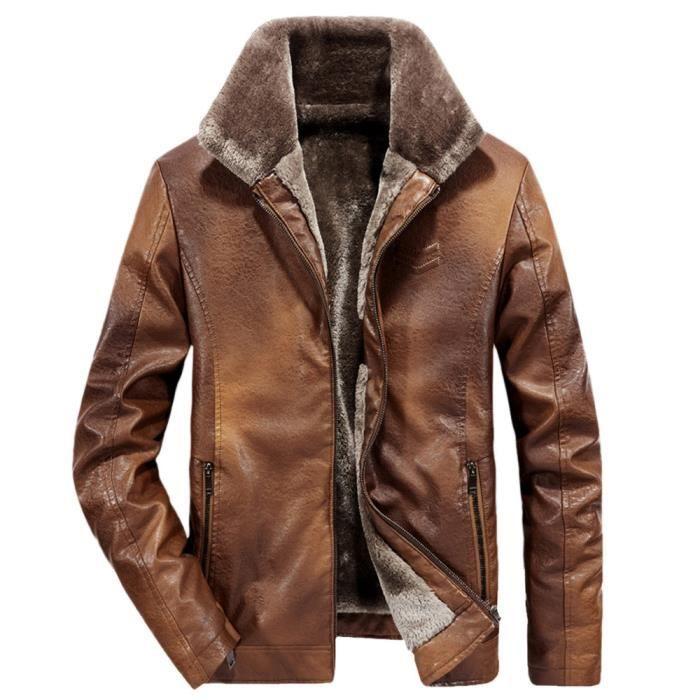 Imitation Cachemire Perfecto jaune Épaissie Homme Zippée Mode Lapel En Hommes Manteau Cuir poche Hiver awd8qa0