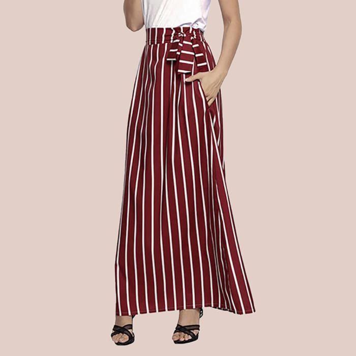 Rayé Lacets Cheville Casual Soie Rouge Empire En Jupe Longue De Femmes Vintage Mousseline Longueur CwR5Hq