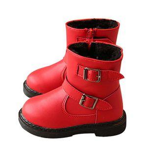 D'hiver Bottes Cuir Enfants Nouveaux Mode Bottines Fille LLT-XZ104Rouge23 SGH5FxH