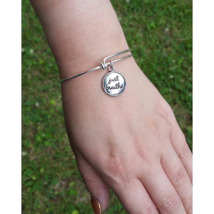 Femmes Respirez Just - Bracelet réglable - Bracelet à breloques - Bracelet réglable en acier inoxydable - J XNYWI