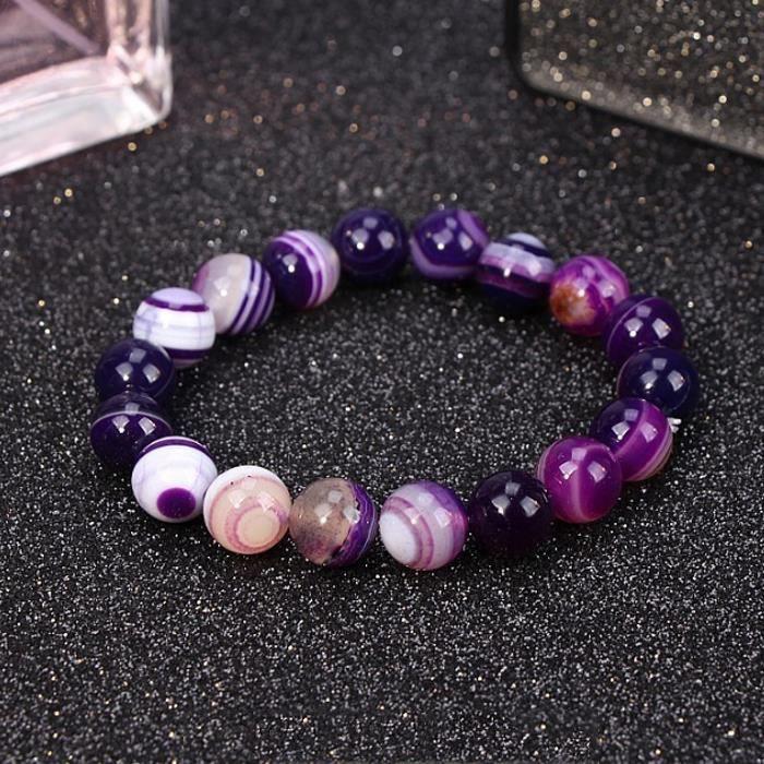 Bracelets Bracelet en agate naturelle bracelet bijoux en agate violette naturel cadeau