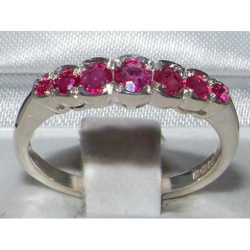 Bague pour Femme en Or blanc 9 carats 375-1000 sertie de Rubis- Tailles 50 à 64