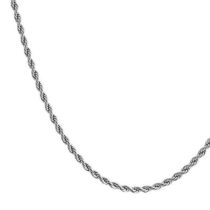 Mens Unisexe En Acier Inoxydable Corde Collier Chaîne 2,5 Mm