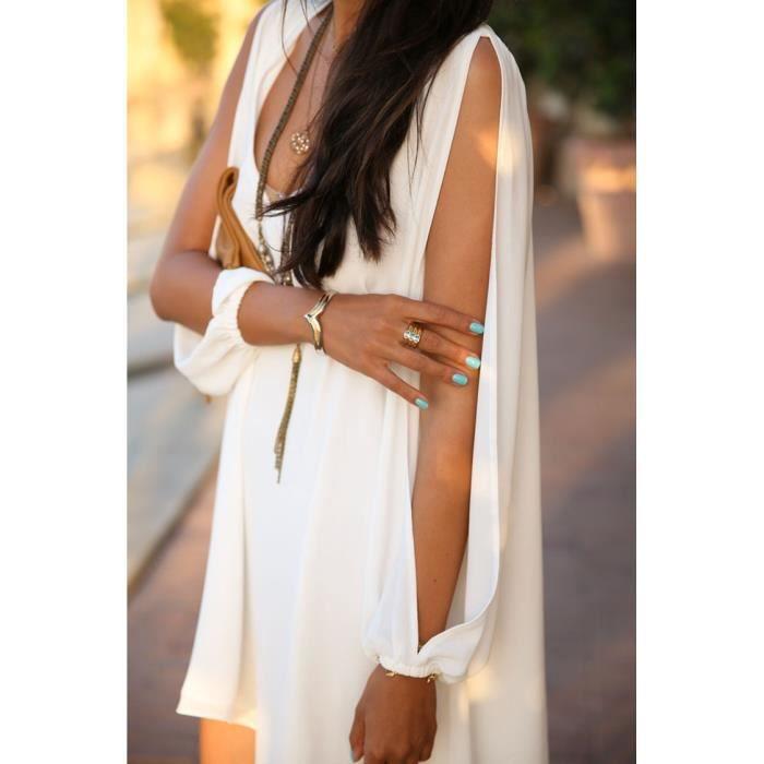 robe mini v col de mousseline de soie sexy lâche