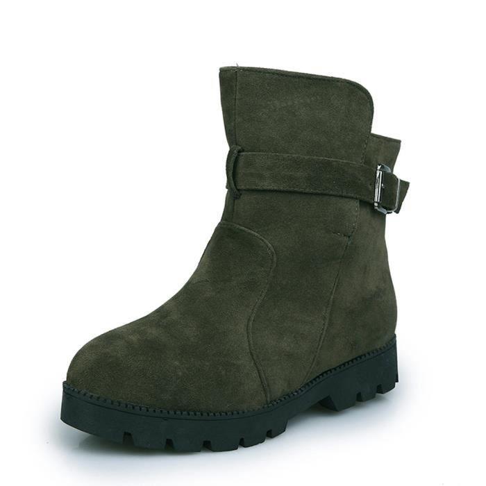 femmes hiver neige chaude cheville bottes boucle match solide Martin bottes chaussures noir RuknJyN