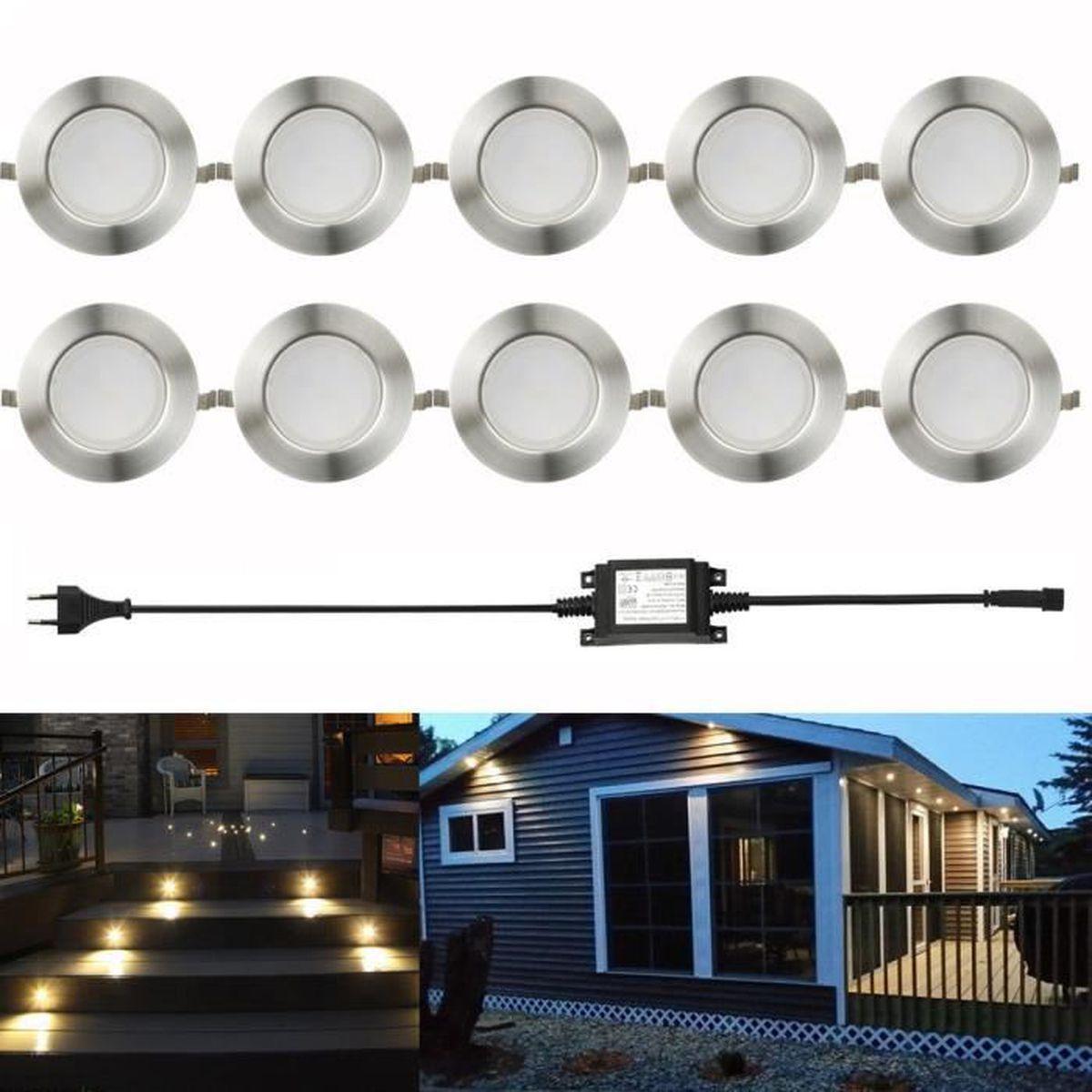 FVTLED 10x Spot LED 61mm Encastrable Eclairage pour Chemin Terrasse