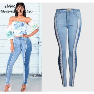 5d3a7bf5601 JEANS Mode Houppe Hanches Jeans Femme Européen Slim Gran