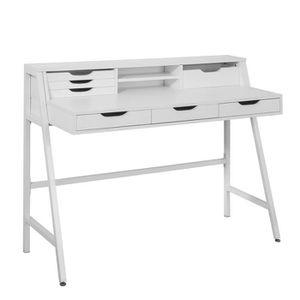 SECRÉTAIRE SoBuy® FWT45-W Bureau informatique Table secrétair