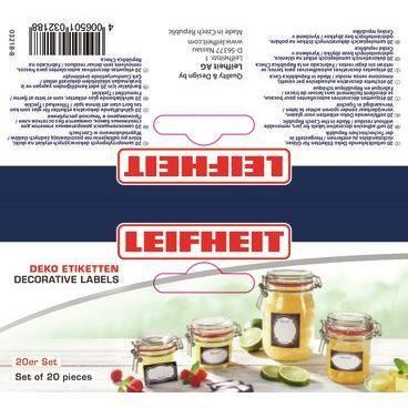 LEIFHEIT Etiquettes de décoration pour bocaux - Noir et blanc