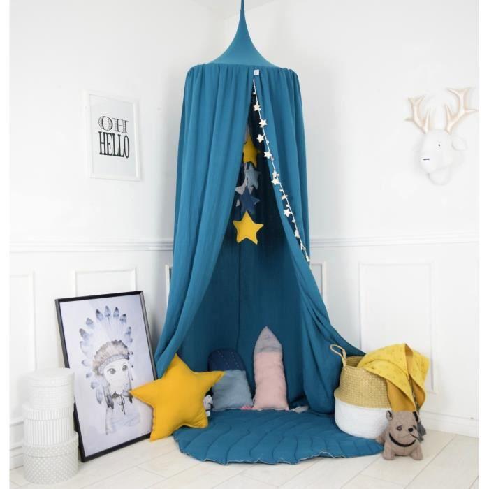 Solenzo -Tente Ciel de lit bleu pétrole pour Chambre d\'enfant (sans  Accessoires)