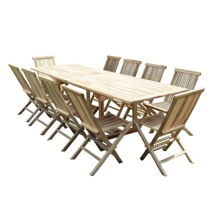 Salon de jardin en teck BATAN 10/12 places - Achat / Vente salon de ...