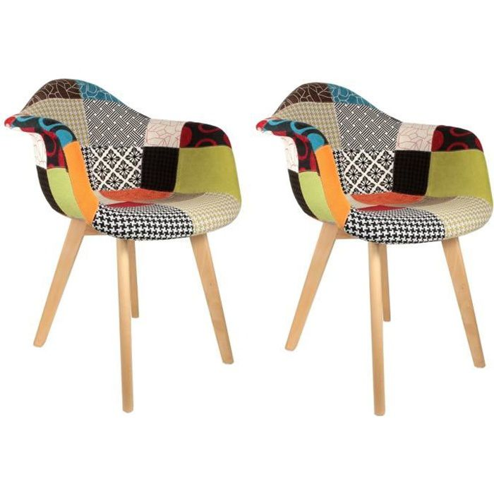 fauteuil fauteuil scandinave patchwork color lot - Fauteuil Scandinave Patchwork
