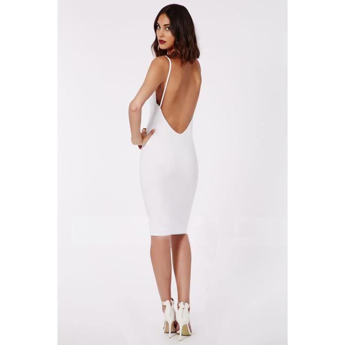 Robe femme courte aux genoux moulante fourreau dos nu à bretelle fine sexy  de soirée cocktail club classe grande taille d été-blanc dbb56600b14