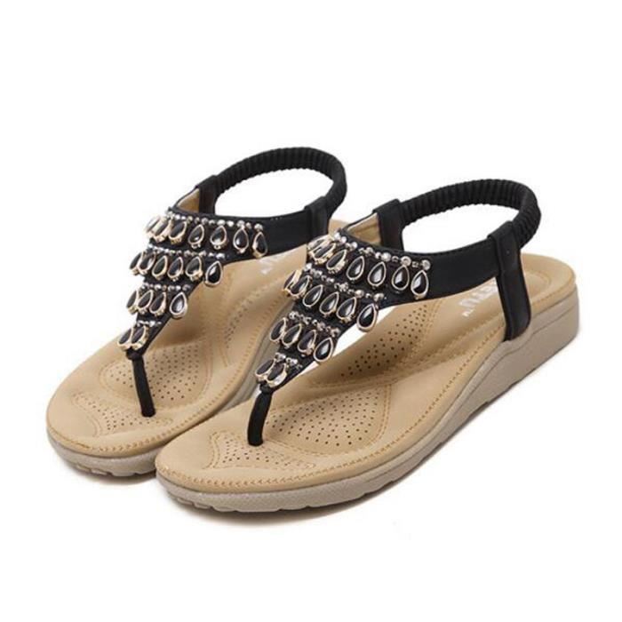 Sandales Femmes et Filles Bohémienne été Sandale KIANII® Noir