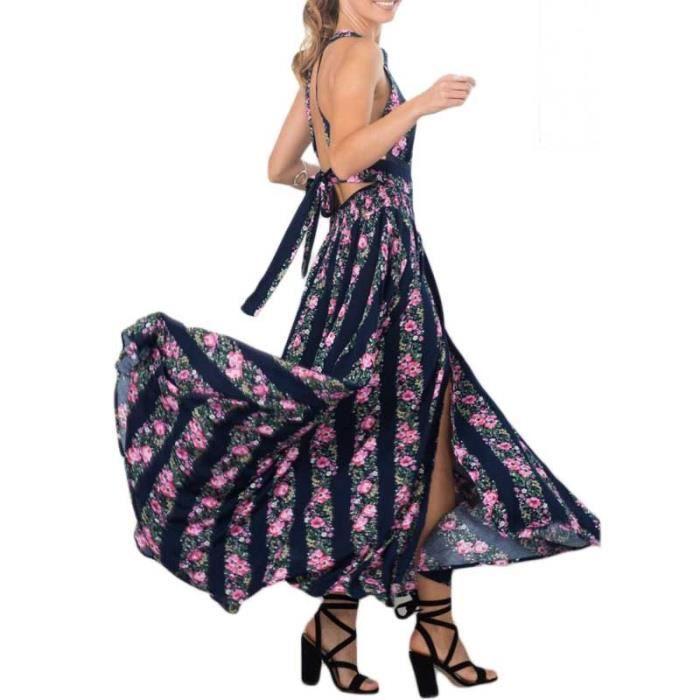 Robe femme Finejo sexy longue large épaule dos nu florale