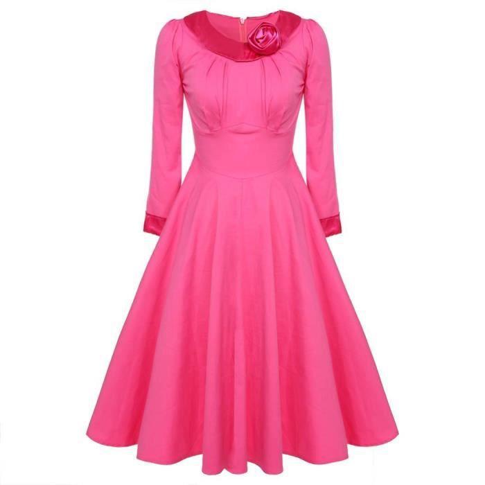 Robe de soirée femmes élégante à manches longues taille haute mollet longueur casual