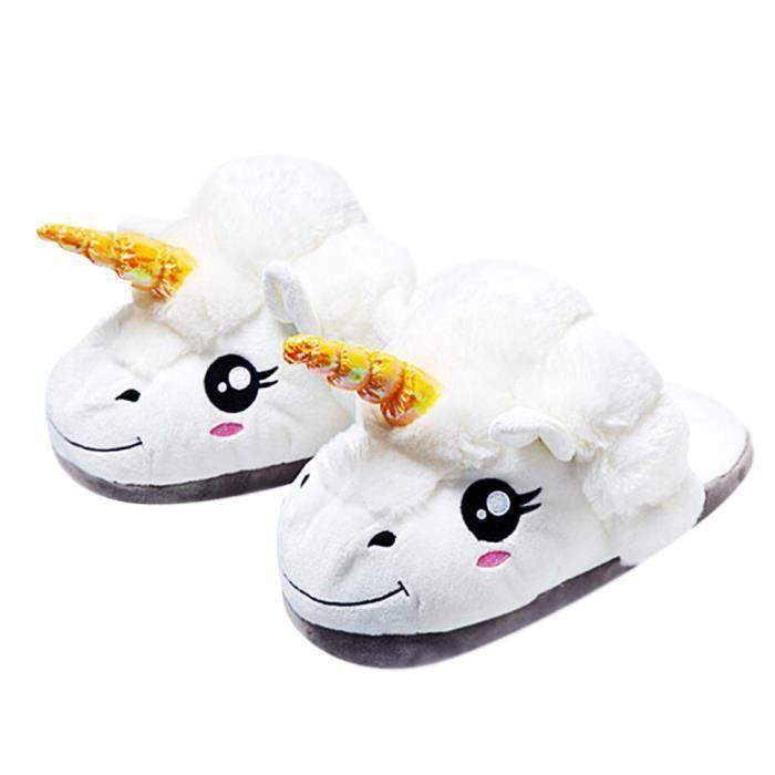Chaussons Enfant Licorne Pantoufles en Peluche Hiver Domicile en coton chaud Drôle mignon Cartoon Animal Noël pantoufle CHT-XZ153