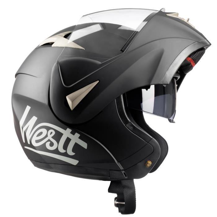 Westt Casque Moto Modulable Integral Torque Noir Mat Ece Homme