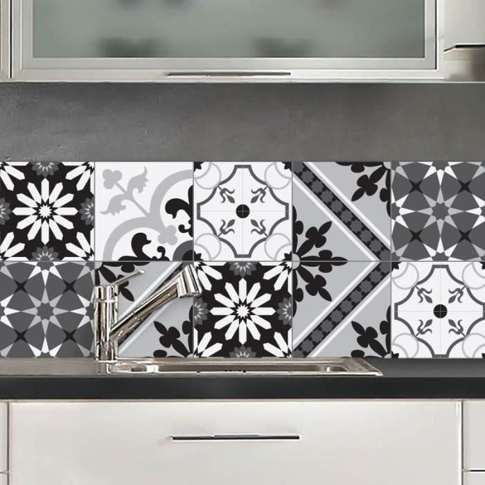 Credence adhesive sao paulo noir et blanc 40x100 cm achat vente credence credence adhesive - Credence cuisine noir et blanc ...