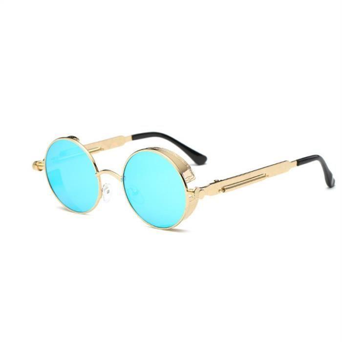 De Hommescadre Mode Vintage Plates Pour Bleue Miroir Rondes Soleil Lentille Femmes Avec Lunettes Doré doErxWQCBe