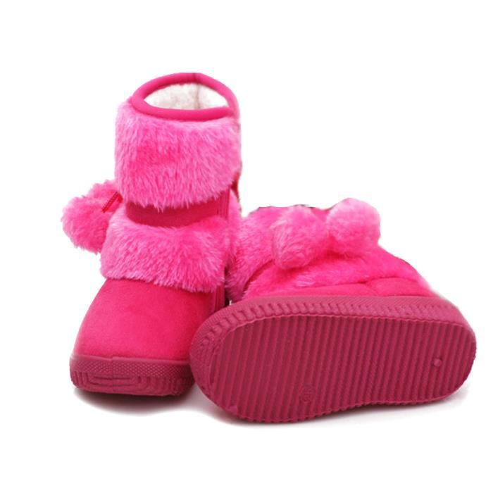 Hiver Bottes Enfants En Peluche Chaussures Filles Garçon Bottines CHT-XZ095Rouge30