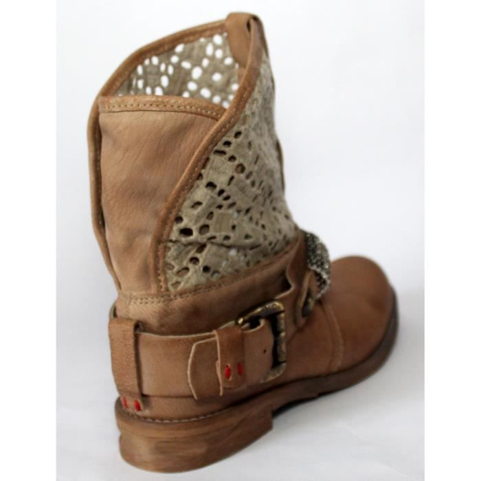 CHAUSSURES BOTTINES BASSE CUIR & STRASS T 35