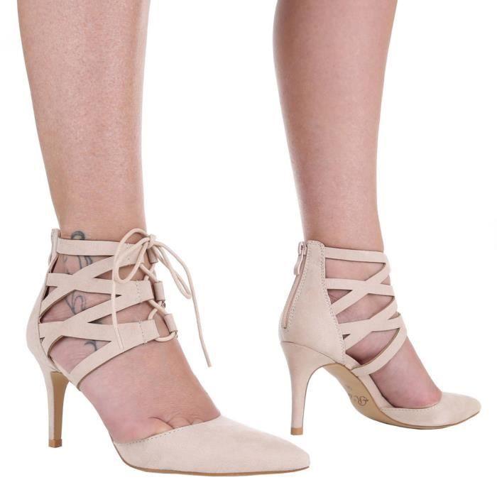 Sandales Beige Chaussures Escarpin 41 Femme High Heels Noir GLSzpjUqMV