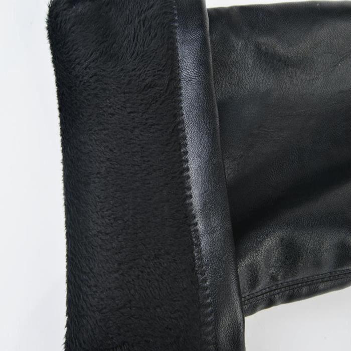 mode cuir sur genou Bottes femmes orteil élastique Stretch bottes talon épais noir