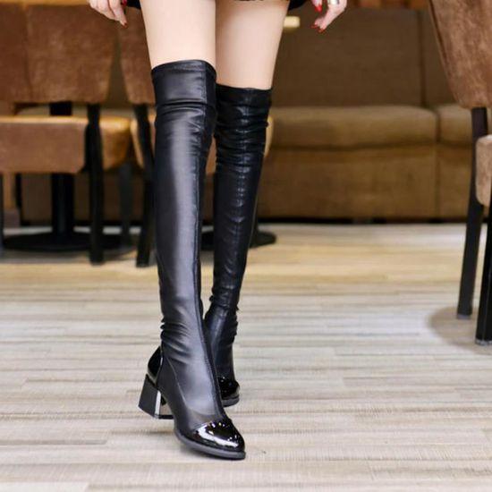 mode cuir sur genou Bottes femmes orteil élastique Stretch bottes talon épais noir uYYhB9H