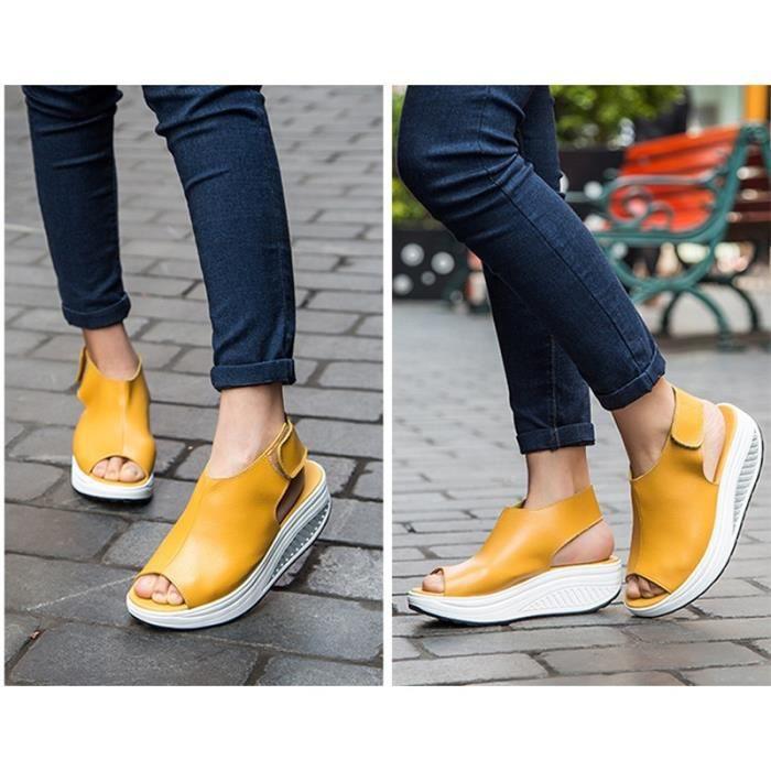 Femmes Escarpins Sandales Femme Printemps Eté fond épais Poisson Wedges bouche plate Waterproof Talons femmes & # 39; Chaussures