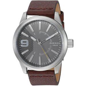 BRACELET - GOURMETTE DIESEL HOMME 46MM BRACELET CUIR BOITIER ACIER INOX