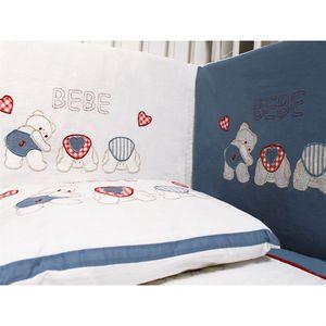 Tour de lit brodé BEBE bleu - Achat / Vente tour de lit bébé ...