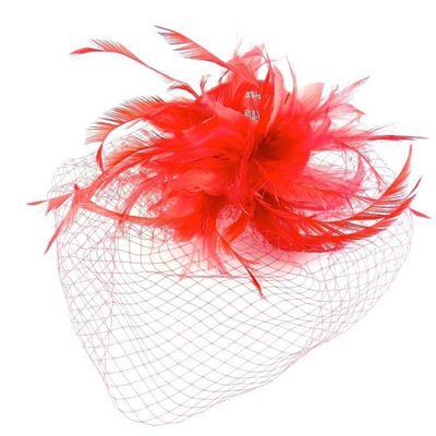convient aux hommes/femmes Royaume-Uni style roman Accessoires cheveux - Serre tête/headband de mariage cérémonies avec  voilette - rouge